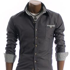 Charcoal Pocket Dress Shirt