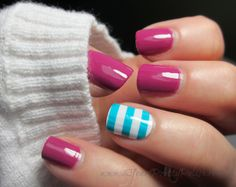 Turquoise stripe accent nail