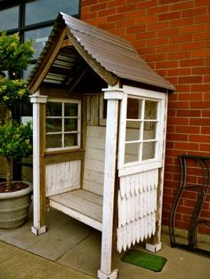 Upcycled window seating area would be cute in the garden!