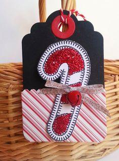 Gingham Girl christma tag, gift tag, cane christma