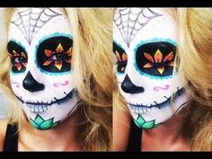 Sugar Skull Halloween Tutorial ♡ Collab w/ AlliNicoleee and MakeupWithJah! - YouTube