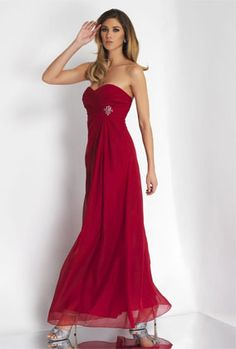 Adding sparkle to bridesmaids dresses is trending.  Love this red gown with crystal broach. Alexia Bridesmaids.