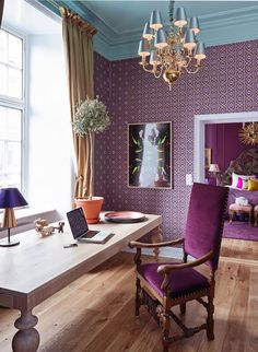 decor, chair, office spaces, purple, color combos, colors, hotel, painted ceilings, home offices