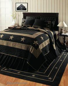 Burlap Star Black Bedding Quilted / Like us on Facebook!  https://www.facebook.com/AllysonsPlaceDecor / #Primitive #country #Cabin