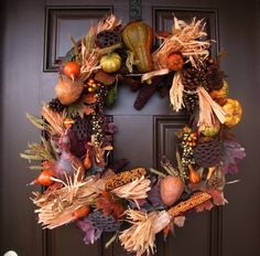 Autumn Wreath with Gourds and Lotus Pods  Fall by TheWrightWreath, $85.00
