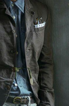 Denim shirt and blazer