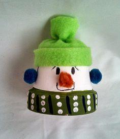 Este pequeño muñeco de nieve barro pote es una por CJandSCreations