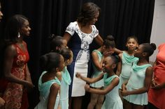 The First Lady greets students from the Dance Theater of Harlem before a luncheon for the spouses of UN Leaders -