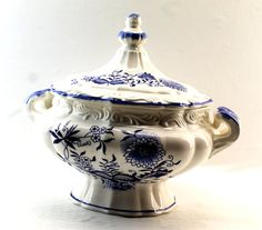 Blue Danube Soup Tureen - Japanese Ceramic Soup Tureen - 33% off Birthday Sale on Etsy, $28.22