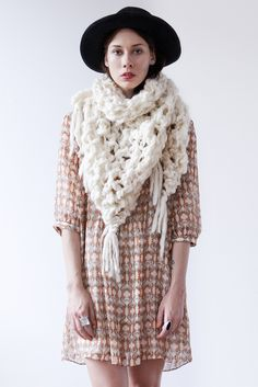 Image of belleville shawl/cowl of thick & thin spun wool (shown in natural)