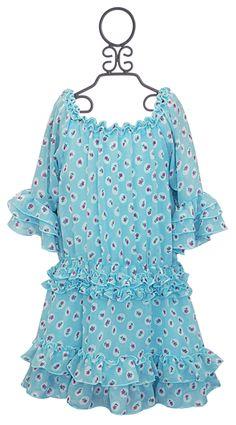 Hannah Banana Turquoise Ruffle Trimmed Girls Dress