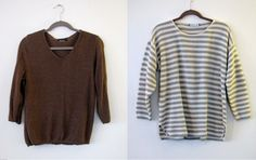For sale in TYF Closet!    $15 Brown Heavy Knit Sweater size S.    $10 Sage Green and White Nautical Knit Sweater size L/XL.