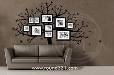 Family Tree Wall Decal - Photo Tree Decal - Use with Or Without Photos -