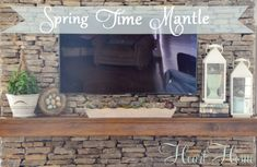 Spring Mantle With a Succulent & Moss Arrangement - All Things Heart and Home