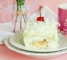 Snowball Cake - Angel Food Cake, Whipped Topping, Pineapple,Coconut.  Yes, please!