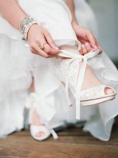 Lace peep toes from BHLDN http://bit.ly/1lBru7E Photography: Erich McVey - erichmcvey.com