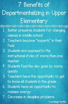 Teaching Fourth: Seven Benefits of Departmentalizing in Upper Elementary Grades