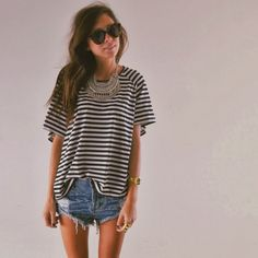 jean shorts, oversized tee outfit, jean shirt summer, striped shirts, cut off shorts outfit