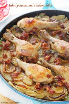 Tender chicken drumsticks cooked on top of layers of thin sliced potatoes and onions make this potatoes and chicken skillet an mouthwatering...