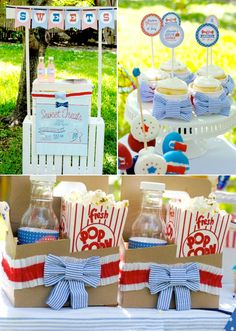 4th of July Seersucker themed backyard party with TONS of cute ideas!! Via Kara's Party Ideas | KarasPartyIdeas.com #4th #july #seersucker #4thofjulyparty