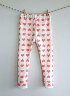 Baby heart organic leggings for Valentine's day