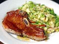 Grilled Pork Chops with Shaved Brussels Sprouts and Apples