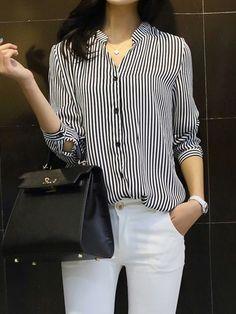 Blue And White Stripe V-neck  Shirt