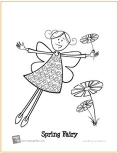 Spring Fairy | Free Coloring Page - http://makingartfun.com/htm/f-maf-printit/spring-fairy-coloring-page.htm