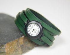 Leather Watch, Little Green Wrap Around Watch