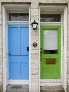 blue and green doors