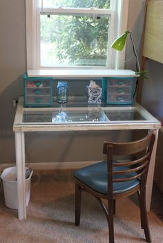 desk from old window pane