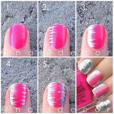 nail art tutorials, brush strokes, pink nails, nail art designs, nail designs, cancer awareness, nail arts, nail tutorials, stripe