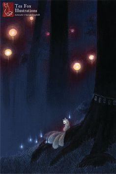 Fox Forest Spirit, Fox Fire, Kitsune Art, Yokai, Japanese Art 4x6 Fine Art Print. $6.00, via Etsy.