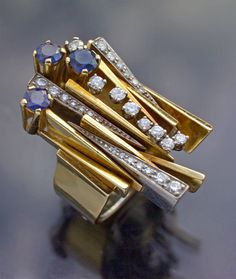 Gold, sapphire and diamond.