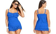 Becca ETC Plus Size Crochet Tankini Top & Ruffle Swim Skirt