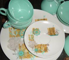 Vintage Aqua Nautical Ship Melmac Kitchenware Set Plates Bowls Tea Cups Oneida Deluxe16 Piece Set