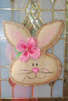 Burlap Easter Spring Bunny Door Hanger Wall Decor ... would be easy to make with a burlap pattern, Mod Podge and a bit of stuffing (and, of course, paint)!