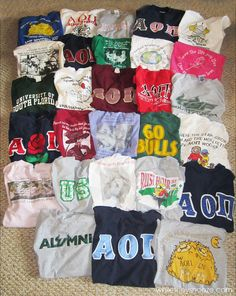 AOII #sorority #clothing #haul #greek #letters t-shirt quilt, tshirt quilt, school, fall quilts, tape, colleg, t shirts, quilt tutorials, kid