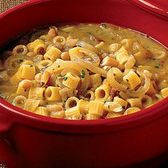 pasta e fagioli via la cucina italiana - to can, make it without pasta, and be sure to make extra broth, then can.  add pasta later.