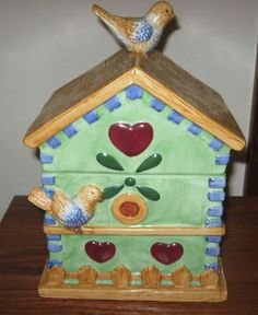 Ceramic Birdhouse Cookie Jar