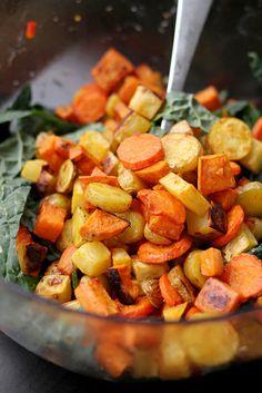 miso-harissa roasted carrot, squash, and two-potato salad
