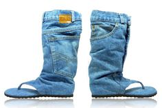 Jeans sandal boots handmade size US 10 Euro 42 by DaniKfashion, $140.00