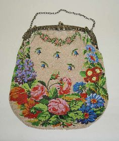 Exquisite German made Leather & Glass Bead Purse circa 1913-14