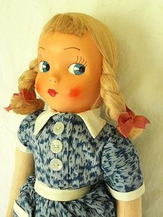 Vintage Polish Mask Face Doll with Blonde Braids