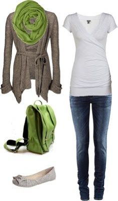 Simple White T , skinnys, flats, and a scarf! I'm in love! --- No skinny jeans ...maybe a skinny rolled Capri length jean