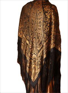 MAGNIFICENT Art Deco Silk Lame Shawl c1920's - Intricate Paisley Design