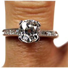 GIA E-VS2 Art Deco 1.02ct Antique Vintage Old Mine Cushion Diamond Engagement Ring in PLATINUM
