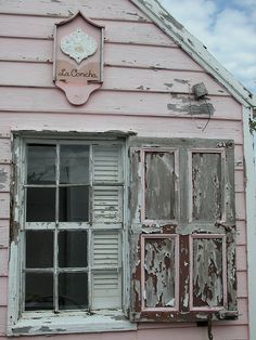 window shutters, old shutters, coastal house, beach cottages, shabbi chic, shabby chic, pink houses, cottage life, island