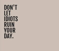 Don't let idiots ruin your day | Inspirational Quotes