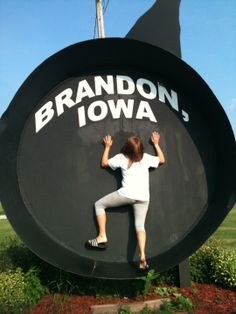 Iowa's Largest Frying Pan resides in Brandon. Modeled after a 10-inch cast iron frying pan, it has an eight-foot base and is 9 ft. 3 inches at the rim. It has a five-foot handle for a total length of 14 foot 3 inches. The pan weighs in at 1,020 pounds.